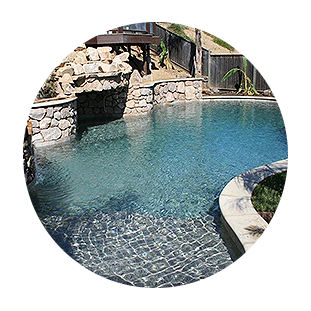 Pool with Crystal Blue Water and Stone Features